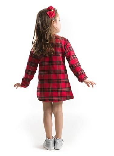 Mushi Kırmızı Ekose Kedicik Elbise Renkli